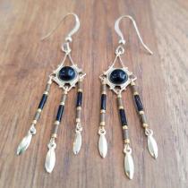 C'cédille - Boucles Ana Agate noire - Boucles d'oreille - Plaqué or