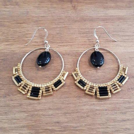 C'cédille - Boucles Osiris Agate noire - Boucles d'oreille - Plaqué or