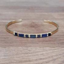 C'cédille - Bracelet Ana Bleu nuit - Bracelet - Plaqué Or gold filled