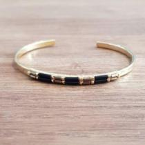 C'cédille - Bracelet Ana Noir - Bracelet - Plaqué Or gold filled