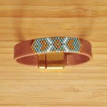 C'cédille - Bracelet Apache Camel & Aqua - Bracelet - Cuir