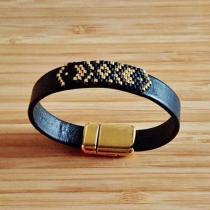 C'cédille - Bracelet Apache Noir & Or - Bracelet - Cuir