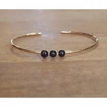 C'cédille - Bracelet jonc Agate noire - Bracelet - Plaqué Or gold filled