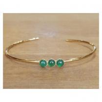 C'cédille - Bracelet jonc Agate Verte - Bracelet - Plaqué Or gold filled