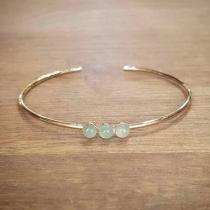 C'cédille - Bracelet jonc Aventurine - Bracelet - Plaqué Or gold filled