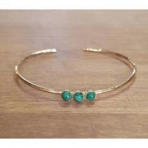 C'cédille - Bracelet jonc Malachite - Bracelet - Plaqué Or gold filled