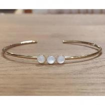 C'cédille - Bracelet jonc Nacre - Bracelet - Plaqué Or gold filled
