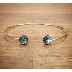C'cédille - Bracelet jonc Nacre Abalone - Bracelet - Plaqué Or gold filled