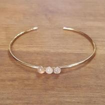 C'cédille - Bracelet jonc Quartz rose - Bracelet - Plaqué Or gold filled