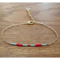 C'cédille - Bracelet Ola Turquoise/Rouge - Bracelet - Plaqué Or gold filled