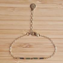 C'cédille - Bracelet Ola Vert Foncé - Bracelet - Plaqué Or gold filled
