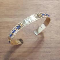 C'cédille - Jonc Icate Bleu Marine - Bracelet - Plaqué Or gold filled