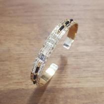 C'cédille - Jonc Icate Noir - Bracelet - Plaqué Or gold filled