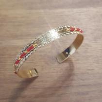 C'cédille - Jonc Icate Rouge brique - Bracelet - Plaqué Or