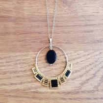 C'cédille - Sautoir Osiris Agate noire - Sautoir