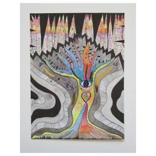 Celine H2o - ARBRE DE VIE - peinture originale arbre de vie, peinture visionnaire, technique mixte, aquarelle graphique, aquarelle arbre abstrait, tribal - Peinture - 32 x 24 cm