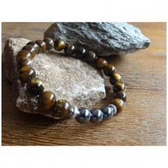 Chakrazen66 - Hématite et œil de tigre sur fil élastique - Bracelet - Perles brodées