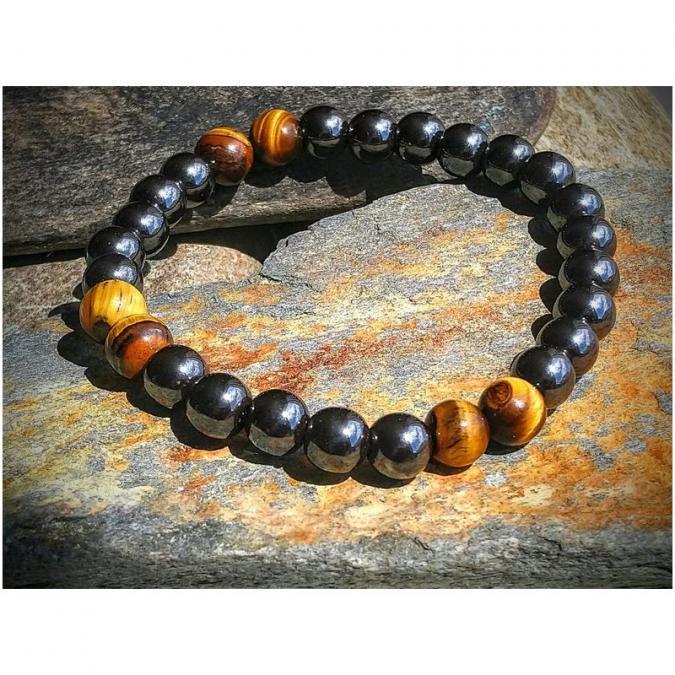 Chakrazen66 - Hématite, œil de tigre sur fil élastique - Bracelet - Perles brodées