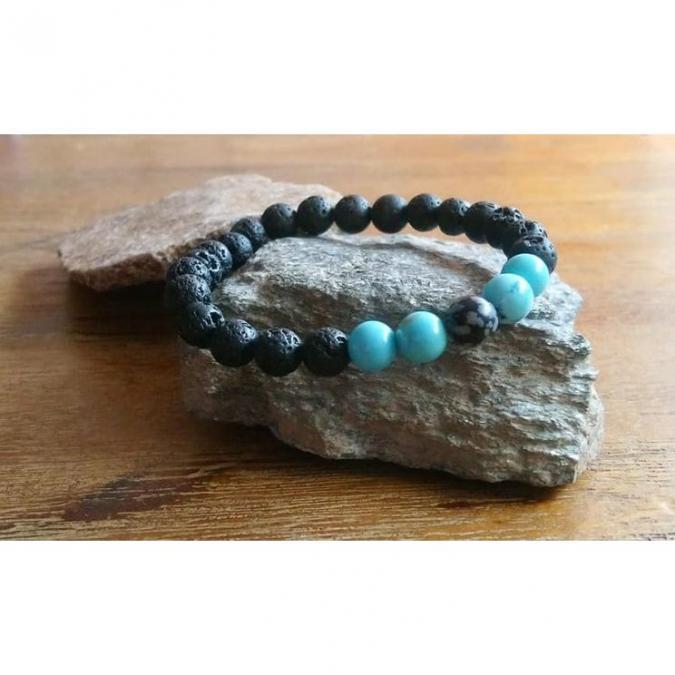 Chakrazen66 - Howlite, pierre de lave et obsidienne flocon de neige sur fil élastique - Bracelet - Perles brodées