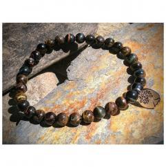 Chakrazen66 - Mix œil de tigre et arbre de vie sur fil élastique - Bracelet - Perles brodées