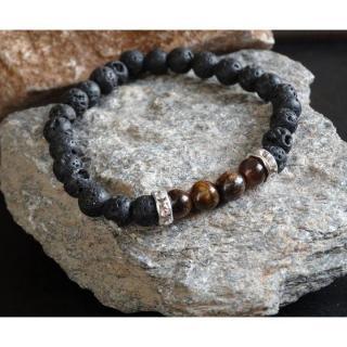 Chakrazen66 - œil de tigre et pierre de lave sur fil élastique - Bracelet - Perles brodées