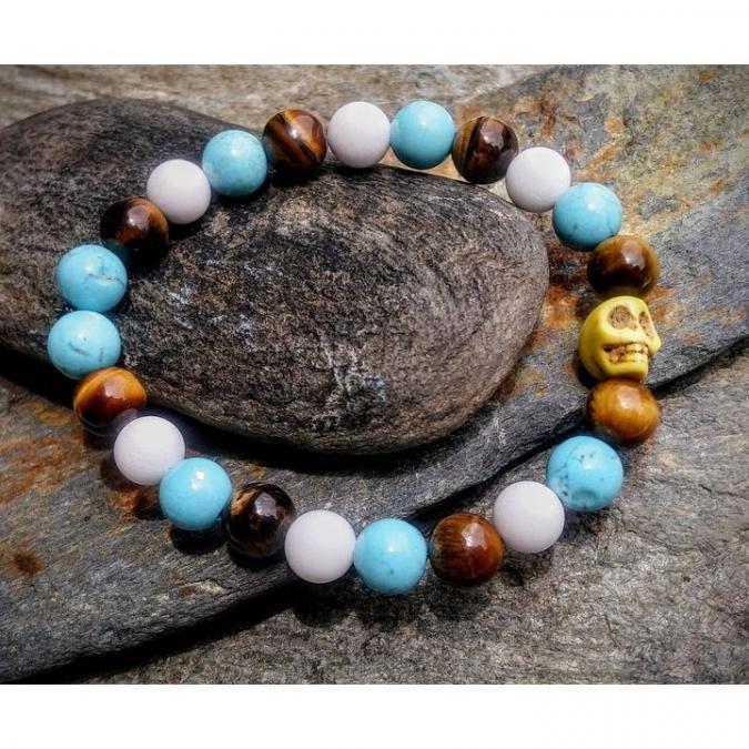 Chakrazen66 - Oeil de tigre, howlite turquoise et jade mashan - Bracelet - Perles brodées