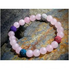 Chakrazen66 - Quartz Rose sur fil élastique - Bracelet - Perles brodées