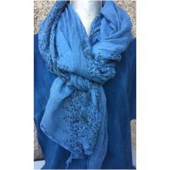 Créations Chantalsoie Teinture au bleu de pastel - Echarpe coton forme losange bleu de pastel moyen - Echarpe - Bleu