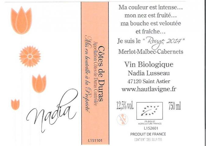 Château Haut Lavigne - Nadia - rouge - 2016 - Bouteille - 0.75L