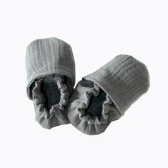 CHOUCHOUETTE - Chaussons souples gris foncé double gaze de coton - 6/12 mois - Chausson