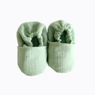 CHOUCHOUETTE - Chaussons souples menthe double gaze de coton - 0/6 mois - Chausson