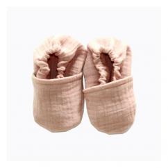 CHOUCHOUETTE - Chaussons souples vieux rose double gaze de coton - 6/12 mois - Chausson