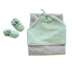 CHOUCHOUETTE - Sortie de bain double gaze de coton Vert Amande - Sortie de bain