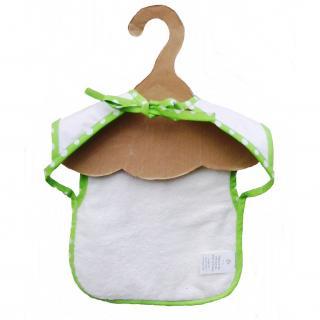 Cococinelle - Bavoir imperméable en pull et éponge de coton Bio  blanc biais vert - Bavoir