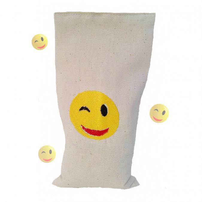 Cococinelle - Bouillotte sèche Bio 19cm/10cm smiley sourire - Bouillotte sèche