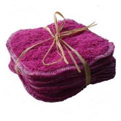 Cococinelle - Lot de 10 lingettes prune en éponge de coton bio 10 cm/10 cm - Lingette