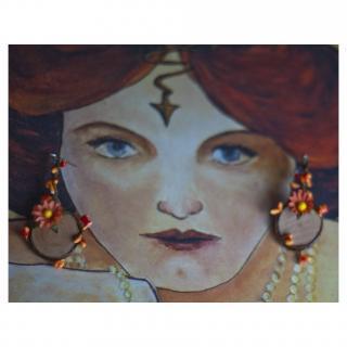 Couronne2fleurs - Boucles d'oreilles elfiques ton orange - Boucles d'oreille - Tissu