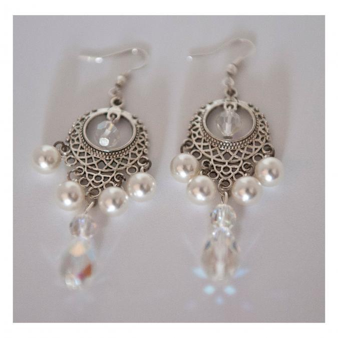 Couronne2fleurs - Boucles d'oreilles perlées swaroski - Boucles d'oreille - Cristal (swarovski)