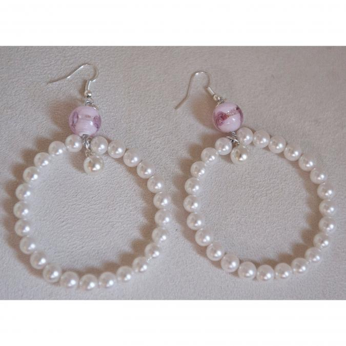 Couronne2fleurs - Boucles d'oreilles perles nacrées du Japon - Boucles d'oreille - Tissu