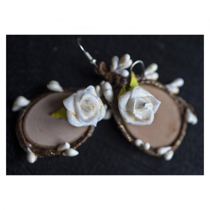 Couronne2fleurs - Boucles d'oreilles pour mariage ou belle occasion - Boucles d'oreille - Cachemire