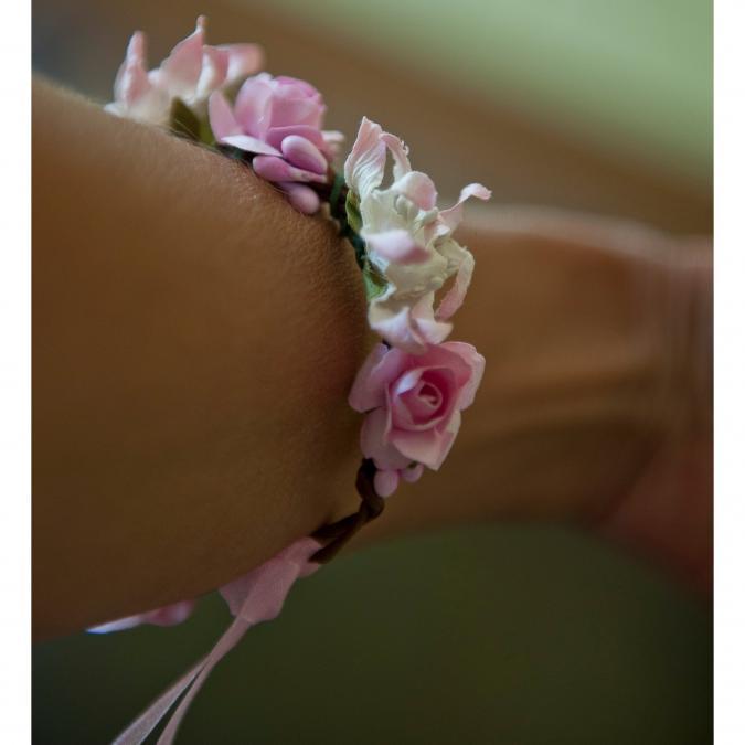 Couronne2fleurs - Bracelet aux fleurs roses shabby chic - Bracelet - 4668