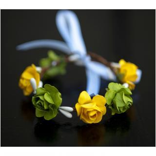 Couronne2fleurs - Bracelet aux petites fleurs jaunes et vertes idée cadeau Noël - Bracelet - 4668