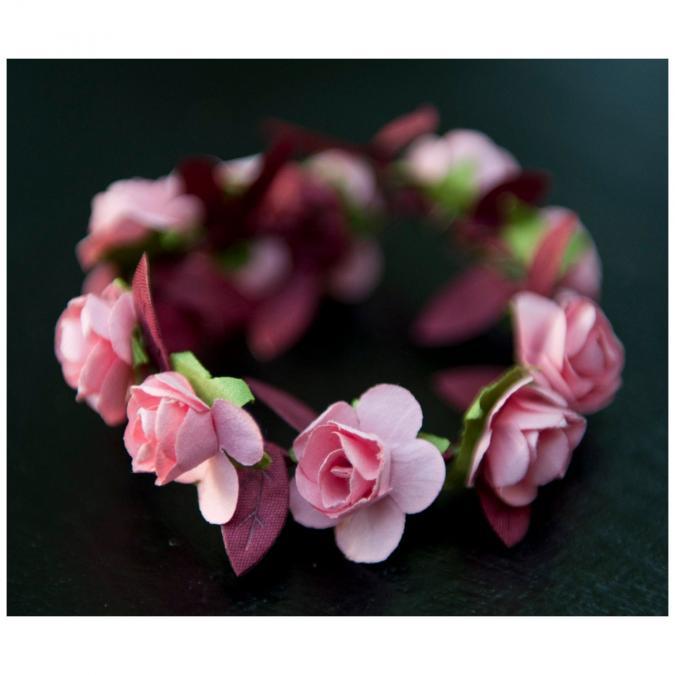 Couronne2fleurs - Bracelet de fleurs en papier de mûrier (couleur au choix) idée cadeau Noël - Bracelet - 4668