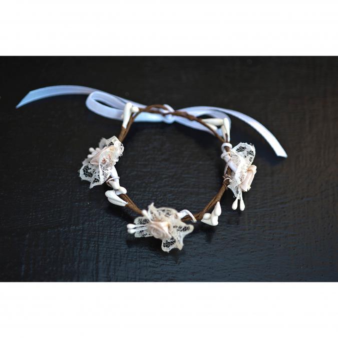 Couronne2fleurs - Bracelet floral avec dentelles idée cadeau Noël - Bracelet - Tissu