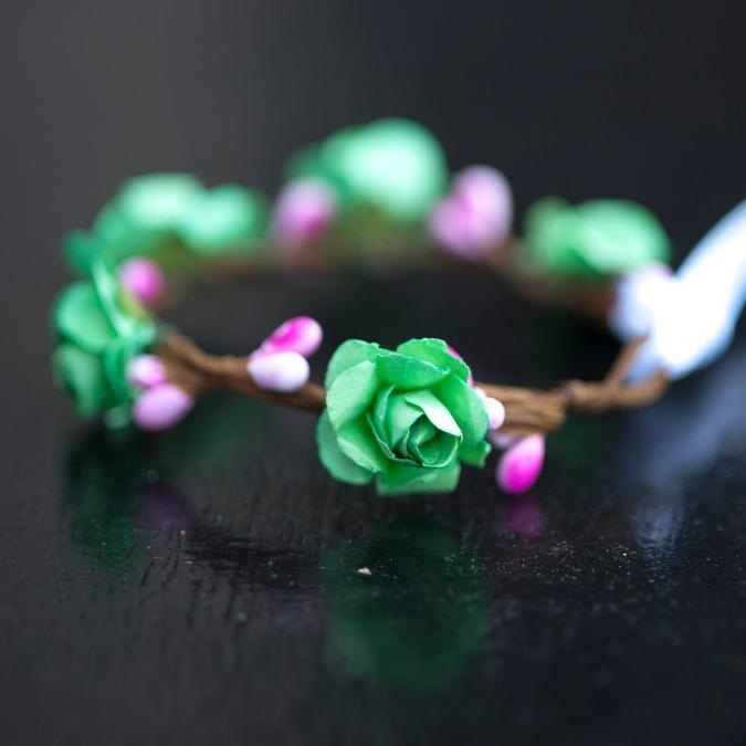 Couronne2fleurs - Bracelet floral vert et rose - Bracelet - Tissu