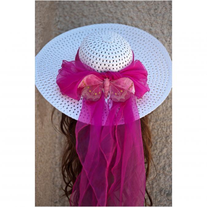 Couronne2fleurs - Chapeau de soleil blanc orné d'un foulard et d'un papillon fuschia - Chapeaux - blanc