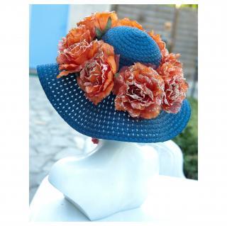 Couronne2fleurs - Chapeau de soleil floral - Chapeaux - Bleu