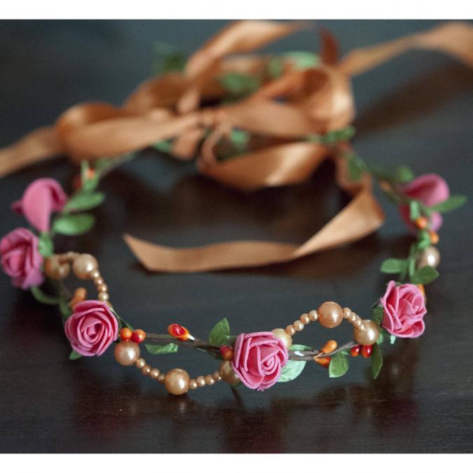 Couronne2fleurs - Couronne de fleurs cheveux aux perles oranges - couronne de fleurs