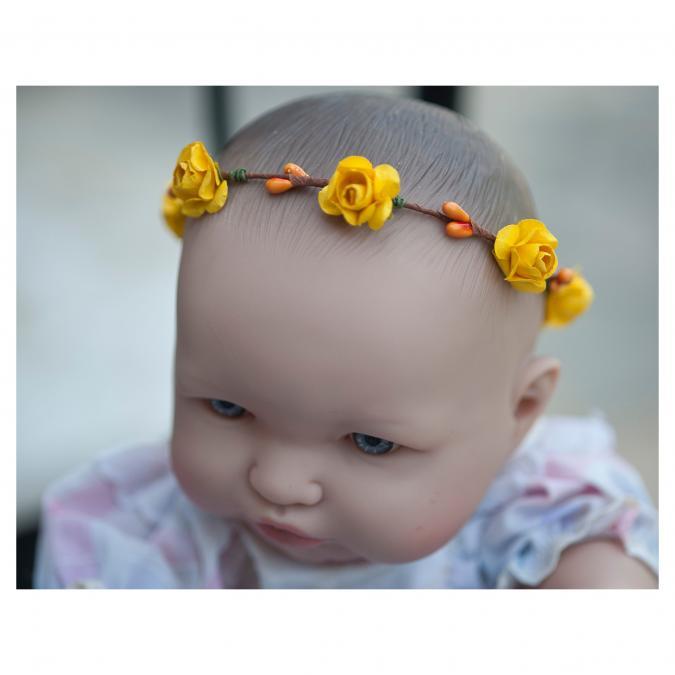 Couronne2fleurs - Couronne de fleurs cheveux bébé aux fleurs jaunes - couronne de fleurs