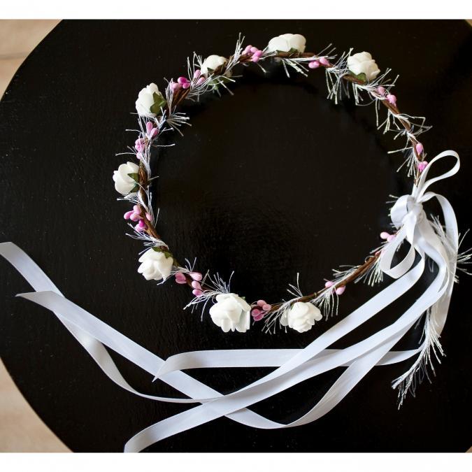 Couronne2fleurs - Couronne de fleurs cheveux blanche - couronne de fleurs